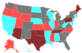 1994 United States Senate Election by Change of the Majority Political Affiliation of Each State's Delegation From the Previous Election.png