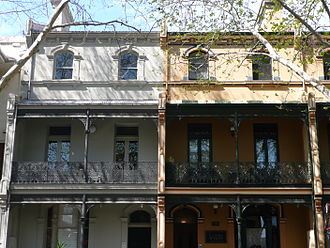 Victoria Street, East Sydney - Characteristic terraced homes with wrought iron