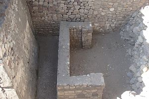 Huejotla - Structure 1, unknown structure below grade, North West corner