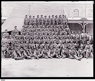 South Australian Mounted Rifles - Group portrait of the 1st contingent, taken before departure from Adelaide