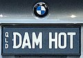 2007 Queensland registration plate DAM HOT vanity on BMW.jpg