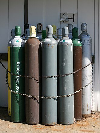 Gas cylinder - It would be safer to have cylinders individually achored in a cool place, rather than chained in a cluster in the sun, as seen here.