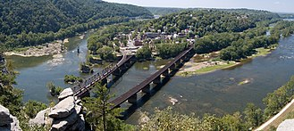 Harpers Ferry National Historical Park - Shenandoah River on left and Potomac River on right merge at Harpers Ferry