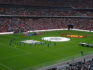2011 FA Community Shield - The two teams lining up for the national anthem