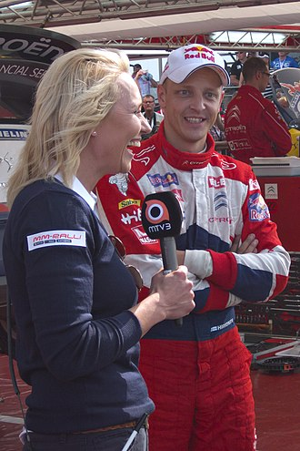 2012 World Rally Championship - Mikko Hirvonen, who finished second, interviewed during the Rally Finland