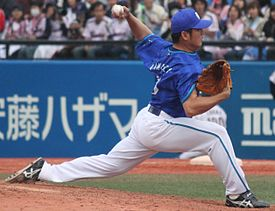 20130407 Yasushi Kamiuchi, pitcher of the Yokohama DeNA BayStars, at Meiji Jingu Stadium.JPG