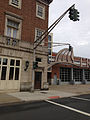 2014-12-28 12 03 09 Green-painted traffic light in front of the Trenton Fire Headquarters on Perry Street at Stockton Street in Trenton, New Jersey.jpg