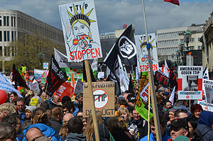 Transatlantic Trade and Investment Partnership - Anti-TTIP demonstration in Hannover, Germany, 23 April 2016