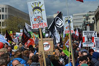 Transatlantic Trade and Investment Partnership - Anti-TTIP demonstration in Hannover, Germany, April 23, 2016