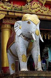 A statue of a white elephant