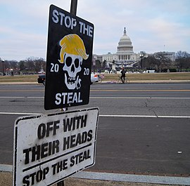 Stop the Steal signs seen in front of the Capitol 2021 storming of the United States Capitol DSC09426-2 (50813677883) (cropped).jpg