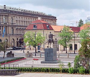 Monument to Prince Józef Poniatowski in Warsaw - The monument as seen from the windows of the Presidential Palace