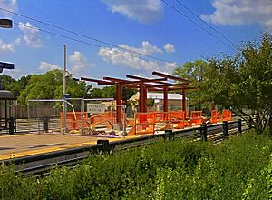 38th Street (Metro Transit station) - The station in August, 2009, in the process of being expanded to accommodate three-car trains