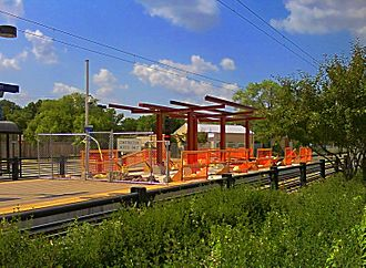 38th Street station (Metro Transit) - The station in August, 2009, in the process of being expanded to accommodate three-car trains