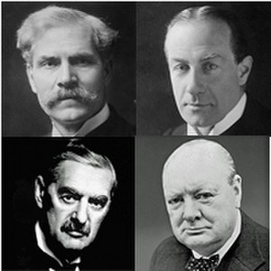 Kingsley Wood - Wood served as a minister under (top) Ramsay MacDonald, Stanley Baldwin, (bottom) Neville Chamberlain and Winston Churchill