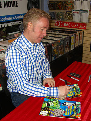 Skrull Kill Krew - Writer Mark Millar signing copies of the book during an appearance at Midtown Comics in Manhattan.