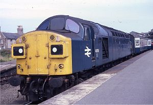 British Rail corporate liveries - The classic Rail Blue colours - Class 40 locomotive No.40128 with blue and grey coaching stock at Llandudno in 1982