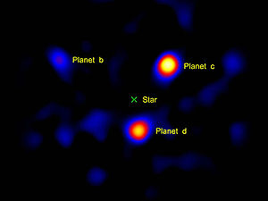 Exoplanet - The three known planets of the star HR8799, as imaged by the Hale Telescope. The light from the central star was blanked out by a vector vortex coronagraph.