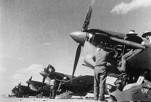 No. 451 Squadron RAAF - No. 451 Squadron Spitfire fighters being serviced at a North African airfield in early 1944.