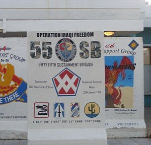 55th Sustainment Brigade (United States) - 55th Sustainment Brigade T-Wall outside of the brigade headquarters at Joint Base Balad, Iraq