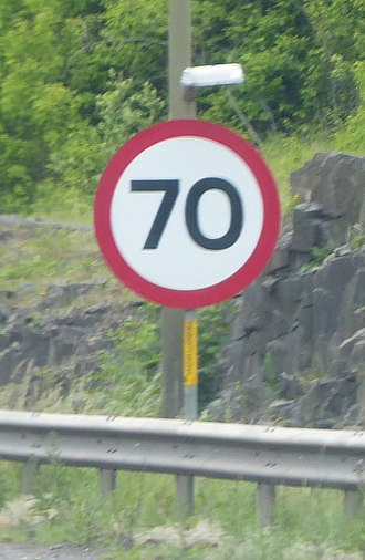 M9 motorway (Scotland) - Speed limit sign at the exit for Edinburgh (Junction 2)