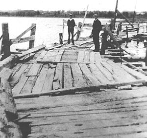 Ontario Highway 7A - The floating bridge, shortly after completion in the 1850s