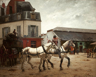 Stagecoach - Coach Stop on the Place de Passy, and change of horses, by Edmond Georges Grandjean