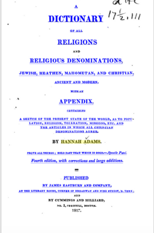 Hannah Adams - Image: A Dictionary of All Religions and Religious Denominations, Jewish, Heathen ... (1817)