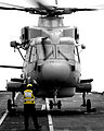 A Merlin carrying takes off from the deck of HMS Ark Royal MOD 45147690.jpg