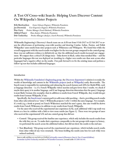 File:A Test Of Cross-wiki Search - Helping Users Discover Content On Wikipedia's Sister Projects.pdf