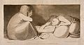 A grieving woman bends over a praying patient who receives c Wellcome V0015231.jpg