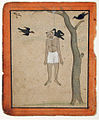 A hanging man's body is regarded by three crows (6125133628).jpg