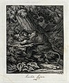 A lioness lying in wait for prey in a forest. Etching by J. Wellcome V0021048ER.jpg