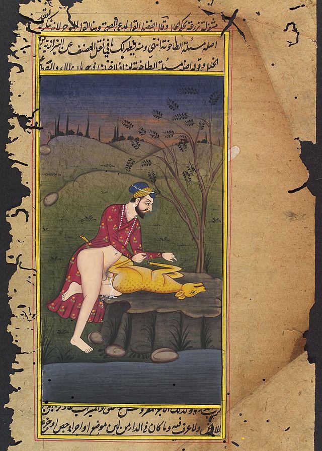 Ein man kopuliert mit einer Ziege oder Reh. Indische Kunst