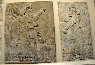 Apkallu - A pair of protective spirits, Apkallu, from Nimrud.