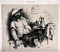 A seated man smoking with a tankard on the table by his side Wellcome V0019076.jpg