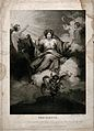 A woman enthroned on clouds is holding a rudder and keys, sh Wellcome V0047971.jpg