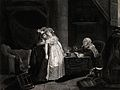 A young woman dressed in white faints after hearing the pred Wellcome V0025934.jpg