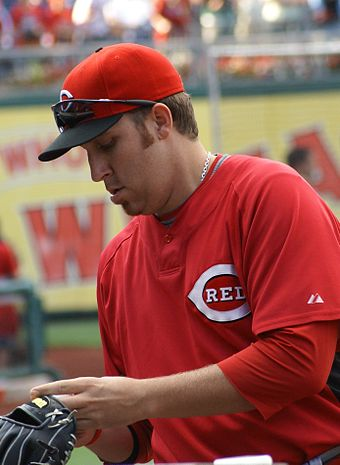 Aaron Harang defeated Jake Peavy for the strikeout title in 2006 by one strikeout. Aaron Harang signing autograph.JPG