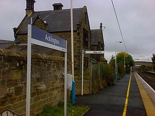 Acklington railway station Railway station in Northumberland, England