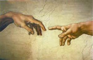 """Detalj ur fresken """"Skapelsen av Adam"""" av Michelangelo."""