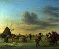 Adriaen van de Velde - Golfers op het ijs in de buurt van Haarlem (1668).jpg