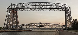 National Register of Historic Places listings in St. Louis County, Minnesota - Image: Aerial lift bridge duluth mn