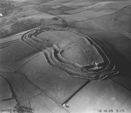 Maiden Castle, Dorset, England. More than 2,000 Iron Age hillforts are known in Britain. Aerial photograph of Maiden Castle, 1935.jpg