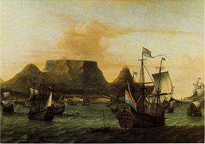 Dutch East India Company - View of Table Bay with ships of the Dutch East India Company (VOC), c. 1683. In the 1600s the size of the Dutch merchant fleet probably exceeded the combined fleets of England, France, Spain, Portugal, and Germany.