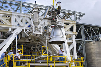 Aerojet AJ26 in the Stennis E-1 Test Stand.jpg