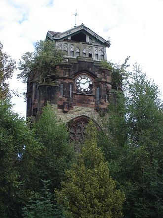 Agecroft Cemetery - Mortuary chapel clock tower