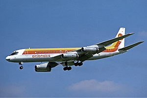 Douglas DC-8 - An Air Jamaica DC-8-62H approaching London Heathrow Airport in 1978