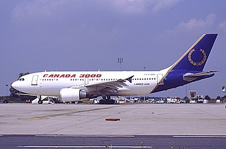 Canada 3000 - A Canada 3000 Airbus A310 at Paris-Charles de Gaulle Airport, France. (2001) It was carrying Canada 3000 and Royal Aviation hybrid livery after Canada 3000 purchased the latter.