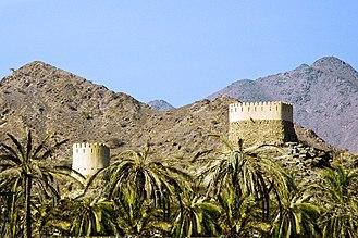 Fujairah - Al Badiyah Mosque lookout towers. Al Badiyah Mosque is the oldest mosque in the United Arab Emirates.